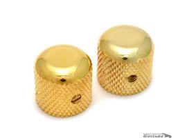 Paire Boutons Telecaster Dôme Gold pour potentiomètres CTS Axe Lisse
