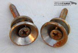 Boutons de Sangle Nickel Chrome type 50's Vintage Rusty Relic