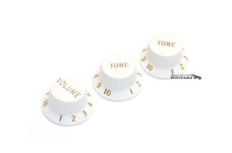 Jeu de trois boutons plastique volume et tonalité pour potentiomètres de Stratocaster