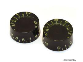 Paire de boutons Speed Knob Black vieilli jauni