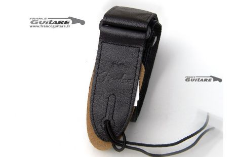 Sangle Cuir Noir Fender Logotype Deluxe Leather Strap