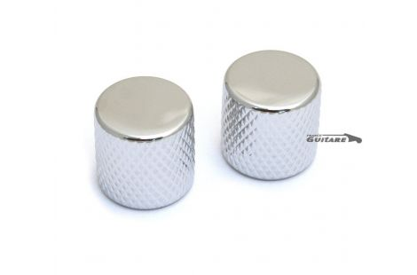 Boutons de Telecaster laiton Chrome Nickel Barrel Flat Top Big Grip