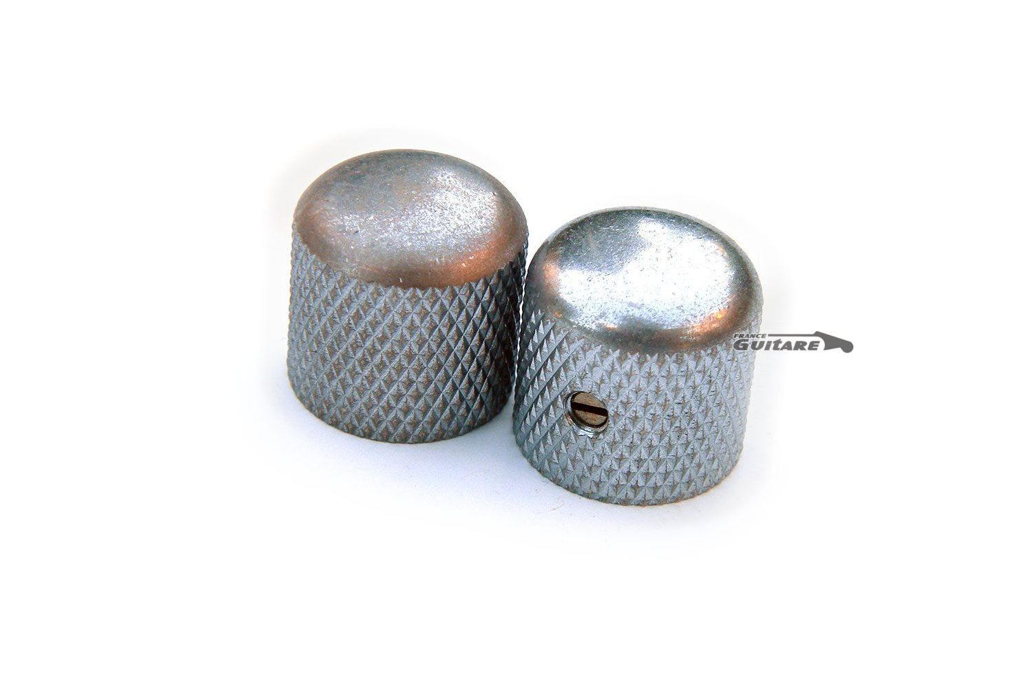 2 Boutons Dome Telecaster Metal Nickel AGED Gros Grains pour pots SplitShaft 6mm