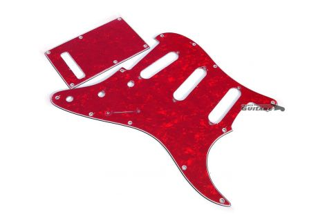 Kit pickguard Stratocaster American Deluxe 4 plis Perloïde rouge 11 trous