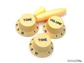 Boutons de potentiomètres Stratocaster Aged white Cream lettrage noir PK0178-028