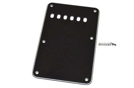 Plaque arrière Stratocaster cache tremolo 3 plis noir blanc noir 6 trous