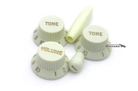 Boutons de potentiomètres Stratocaster Mint Green 60s lettrage Or