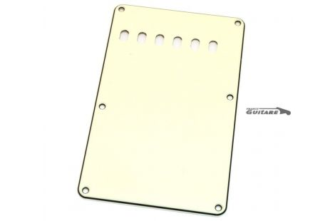 Plaque arrière Stratocaster cache vibrato 3 plis parchment white 6 trous