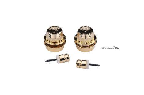 Paire de boutons Fender F gold Strap locks série FSLG1