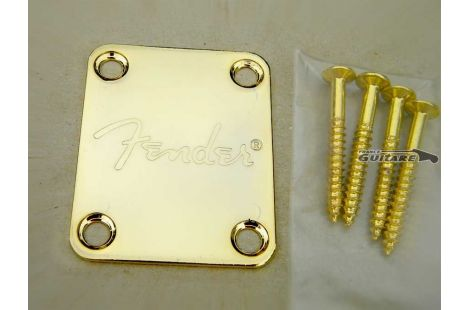 Plaque Manche Logo Fender Gold Strat Tele et Jazz Bass