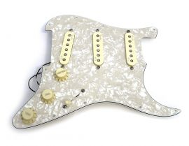 Loaded Pickguard Stratocaster Aged Pearl Deluxe N3 TBX Treble Bleed