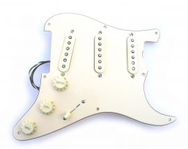Loaded Pickguard Stratocaster Fat 50s Aged White 3 plis circuit Blend