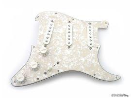 Pickguard assemblé Stratocaster Aged Pearl Van Zandt Blues push push