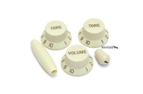 Jeu de boutons potentiomètres Stratocaster Parchment white