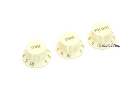 Jeu de boutons Fender Stratocaster knobs volume et tonalité Aged White