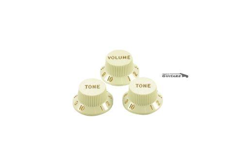 boutons de potentiomètres Stratocaster parchment white 005-6254-049