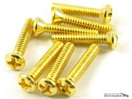 Lot 8 vis réglage hauteur micros Strat Gold tête fraisées style 50's