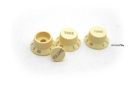 Boutons Fender Stratocaster Deluxe USA volume S-1 tonalité Aged White