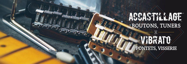 Accastillage Vibratos, Tremolos et chevalets pour guitares et bases Stratocaster Telecaster Fender : Visserie, mécaniques, tremolos, etc.